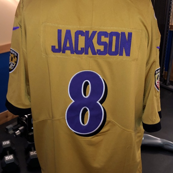 Baltimore Ravens Lamar Jackson Gold Jersey